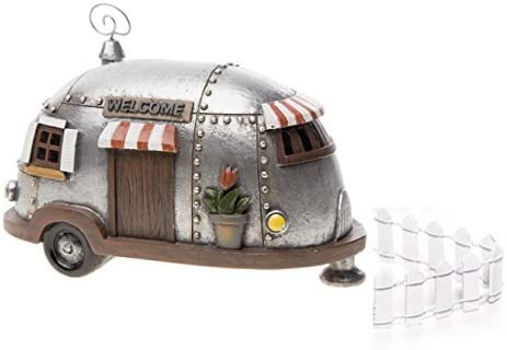 Fairy Garden Camper Trailer with White Picket Fence