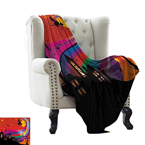 LsWOW Moving Blanket Halloween,Witch Woman on Broomstick Bats