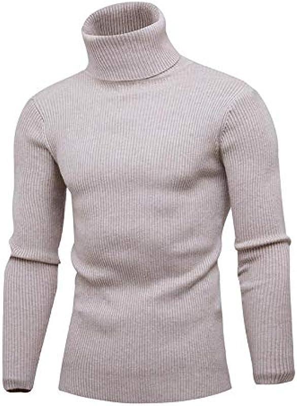 JFHGNJ Frühling Rollkragenpullover Für Männer Fashion Solid Gestrickte Męskie Pullover Casual Männlich Doppelkragen Schlank Pullover-Khaki 1_M: Sport & Freizeit