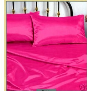 Hot Pink Full Size Silky Satin Pillowcase, Fitted and Flat S