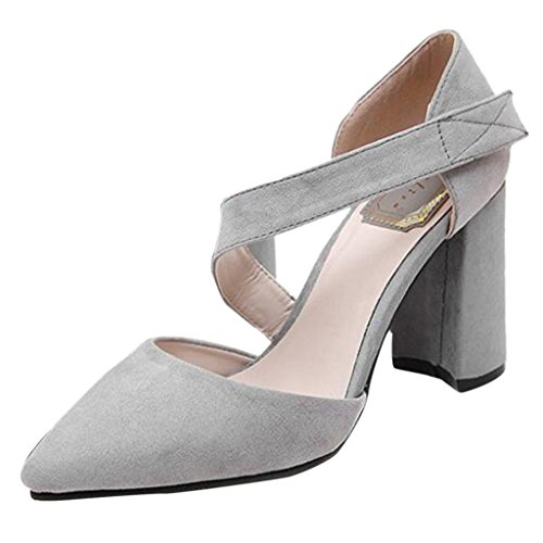 Binying Women's Pointed Toe Shallow Mouth Suede Leather Thick-Heel Pumps Grey RfLtWhf32Y