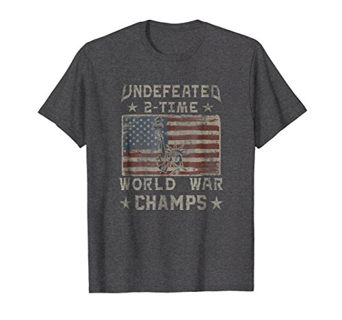 - Mens Undefeated 2 Time World War Champs July 4th Flag T-Shirt 2XL Dark Heather