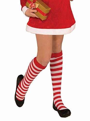 Sexy Waldo Dress Costumes (Child Red White Striped Knee High Socks Elf Halloween Costume Acc. Wheres Waldo)