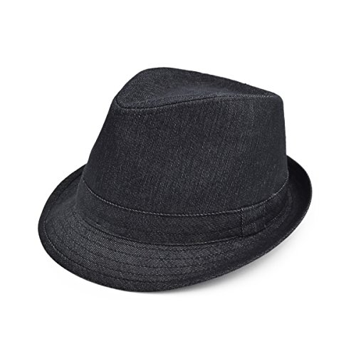 - Premium Jeans Fabric Solid Color Fedora Hat, Black