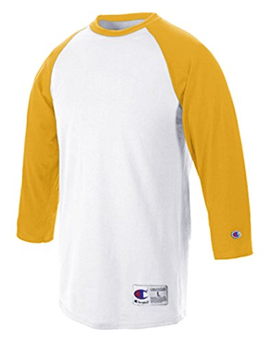 Champion Men's Raglan Baseball T-Shirt, White/Gold, XX-Large ()