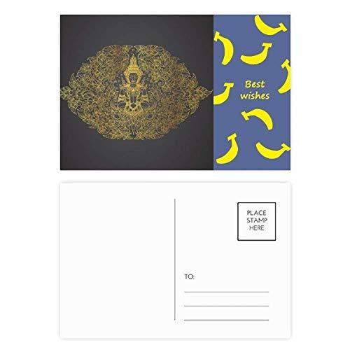 Thai Banana Paper - Thai Symmetrical Gold Foil Illustration Banana Postcard Set Thanks Card Mailing Side 20pcs