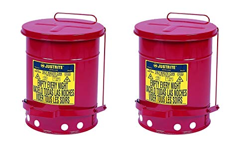 Justrite J09100 09100; Galvanized-Steel; Safety cans; for Oily Waste; Red; Foot Operated Cover; Raised, Ventilated Bottom; Reinforced Ribs; Self-Closing; UL Listed; FM Approved; Capacity (Pack of 2)