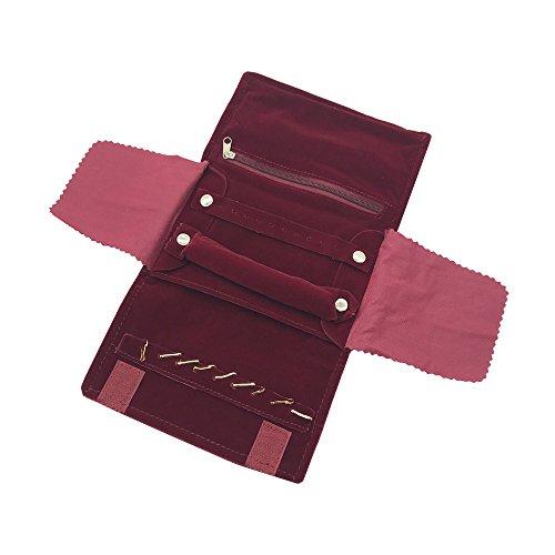 UnionPlus Small Velet Travel Jewelry Case Roll Bag Organizer