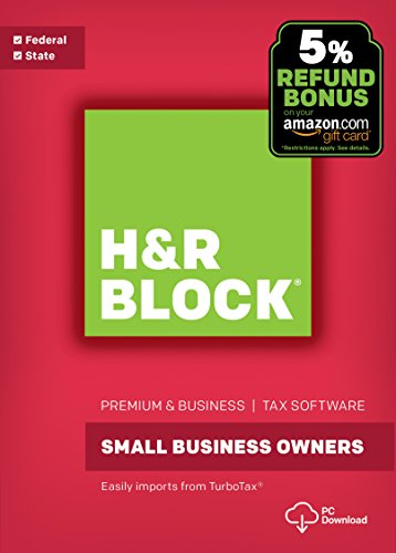 Software : H&R Block Tax Software Premium & Business 2017 with 5% Refund Bonus Offer [PC Download]