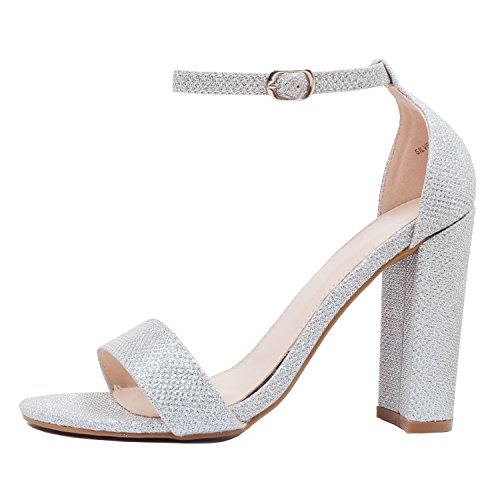 Guilty Heart | Womens Comfort Open Toe Ankle Strap Chunky Block High Heel | Sexy Dress Formal Party Sandal (9 B(M) US, Silver Glitter) by Guilty Shoes