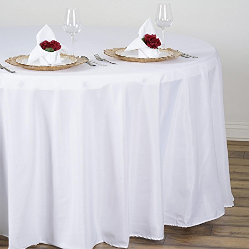 LinenTablecloth 108-Inch Round Polyester Tablecloth White from LinenTablecloth