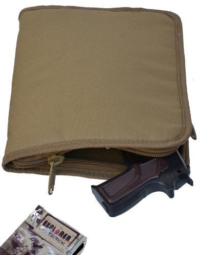 Explorer TC11-TAN Pistol Soft Case, Handgun Soft Case, 9mm ruger glock Pistol Case, Carry Case, Revolver Case