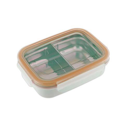 Innobaby Keepin' Fresh Stainless Divided Bento Snack Box with Lid for Kids and Toddlers. BPA Free. Orange.