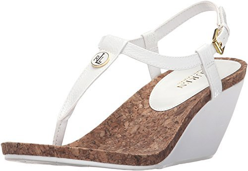 Thongs Heel Sandals Wedge Leather (Lauren Ralph Lauren Women's Reeta Real White Crinkle Soft Patent Sandal)