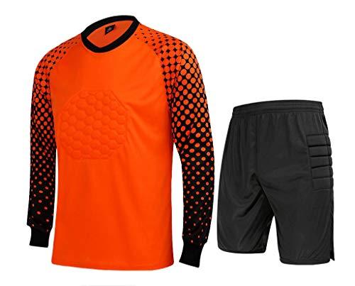 CATERTO Men's Football Goalkeeper Foam Padded Jersey Shirt & Pants/Shorts (M, Orange2011) (Camo Goalie Jersey)