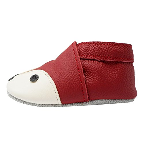 YIHAKIDS Soft Sole Baby Shoes Infant Toddler Leather Moccasins Cute Fox Slippers (4-4.5 US/0-6 MO./4.7in, Red) - Image 5