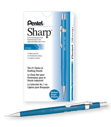 Pentel Sharp Automatic Pencil, 0.7mm Lead Size, Blue Barrel, Box of 12 (P207C) Pentel Blue Barrel