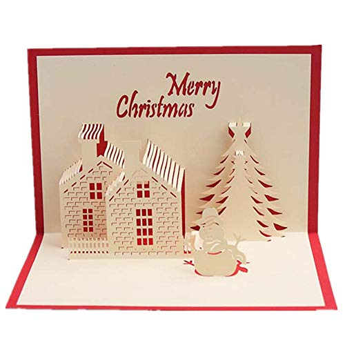 Pausseo Greeting Cards,Merry Christmas 3D Pop Up Elk Xmas Tree Happy Birthday Anniversary Festival Gift Holiday Happy New Year Santa Claus Wedding Thanks Congratulations Card for All Occasions (E)