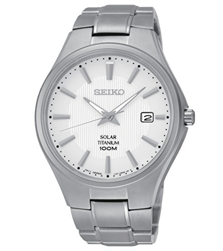 Seiko SNE375 Solar White Dial Titanium Mens Watch