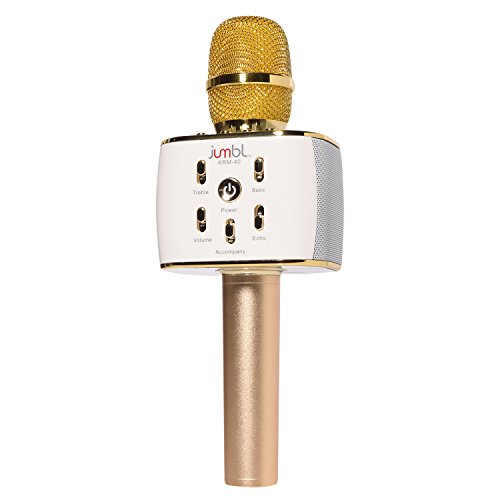 Karaoke Microphone with Bluetooth Wireless Speaker Rechargeable Mini Handheld MIC KTV Machine supports iOS and android smartphone iPad tablet by Jumbl