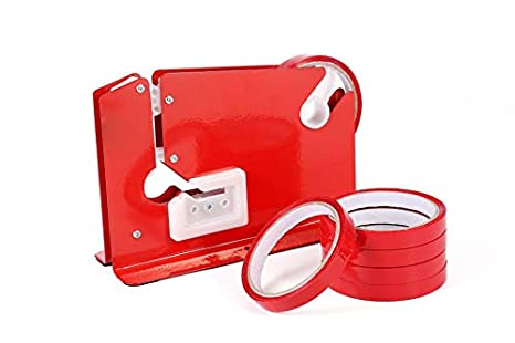 Sellador Rojo de Bolsas + 6 rollos de cinta para fruta, vegetales y pan (Bag Neck Sealer Red)