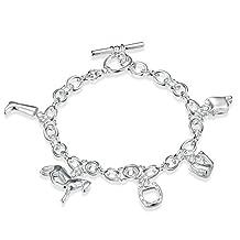 Aokarry Women Men Wedding Bracelet Bangle Copper Horseshoe Silver Length 8 in