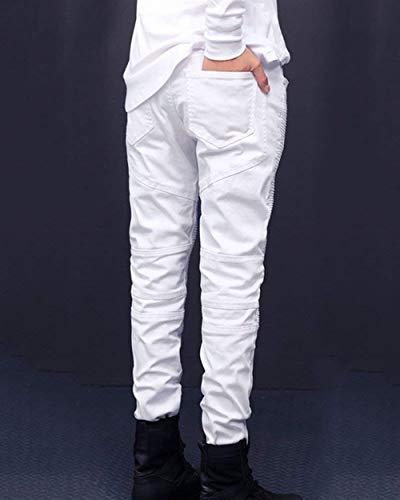 Strappati Slim Con Denim Da waist76cm Size 30 Destrutturato Bianca Fit Ragazzo Jeans Taglio Motociclista Uomo Pantaloni Casual color wC1ISI0q