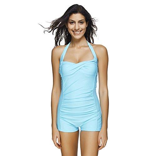 c43a309df895 ... FeelinGirl Badeanzug Damen Neckholder Push up Tankini mit Hotpants  Bikini Schlankheits mit Röschen Bademode Blau 4v3Rh ...