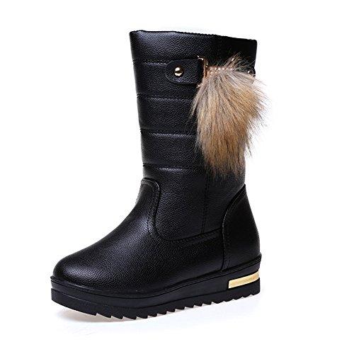 Btrada Winter Mujeres Warm Calf-mid Botas Forrado De Piel Impermeable Antideslizante Pom Pom Pull En Botines De Nieve Negro