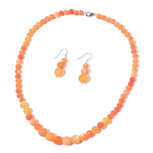 Rhodium Necklace Plated Agate (Orange Agate Rhodium Plated Silver Earrings and Necklace 18 in)