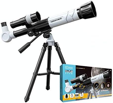 Moonshotjr Astroshot Kids Telescope – Educational Astronomy Toy Telescope, 20X 30X 40X Magnification, Finderscope, Tripod, Objective Lens, Mobile Holder   Beginners Travel Space Telescope (Off White)