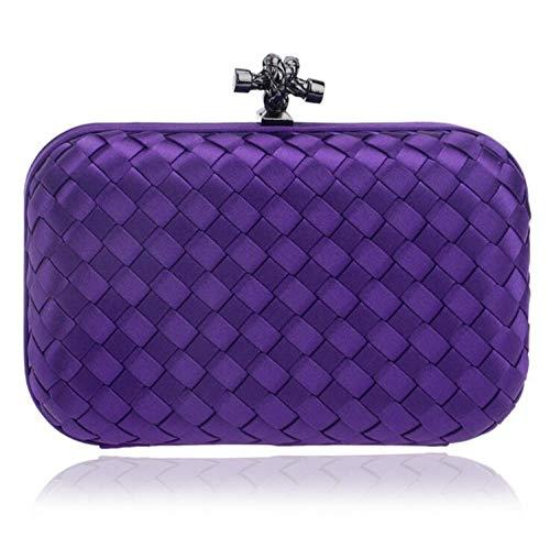 Bolsa 16 Y Noche Americanas Europeas De Cosmeticos Purple Mujeres Yasla La Banquete 6cm Damas Roele Paquete Tejiendo 10 Embrague Boda Moda Bolso xSqPXUw4Yp