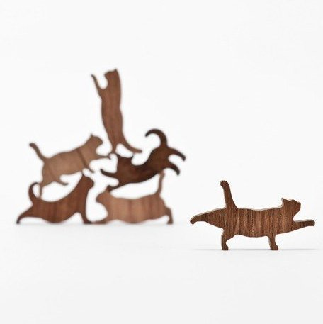 COMMA Wooden Cat Pile Set #4 (Orange Thread, 6 Kittens) by COMMA (Image #7)