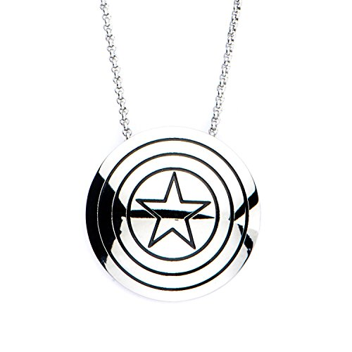 Shield Pendant Logo (Women's Stainless Steel Captain America Shield Logo Pendant with Chain)