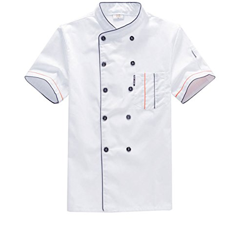 Unisex-Adult Chef's Uniform Short Sleeves Double-Breasted Chef Coats for Mens Womens Double Breasted Chef Coat