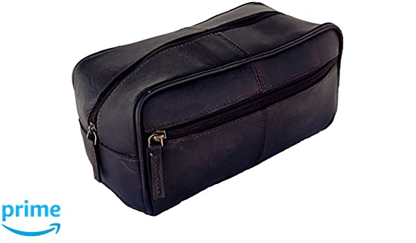 03233c934d Amazon.com  AOL Handmade Buffalo Genuine Leather Toiletry Bag Dopp Kit  Shaving And Grooming Kit For Travel - Gift For Men Women - Hanging Zippered  Makeup ...
