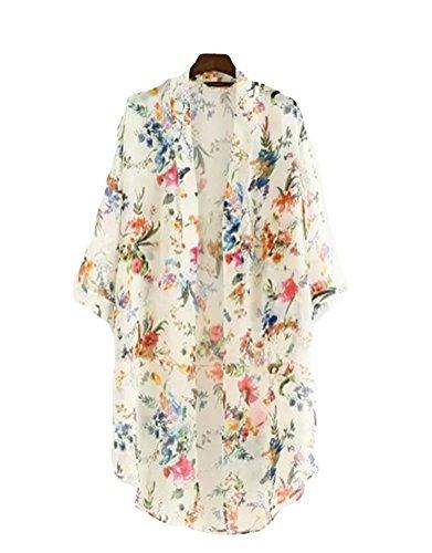 Chiffon Floral (Akery Women's Floral Chiffon Kimono Cardigan Blouse Beach Cover up,Medium,White)
