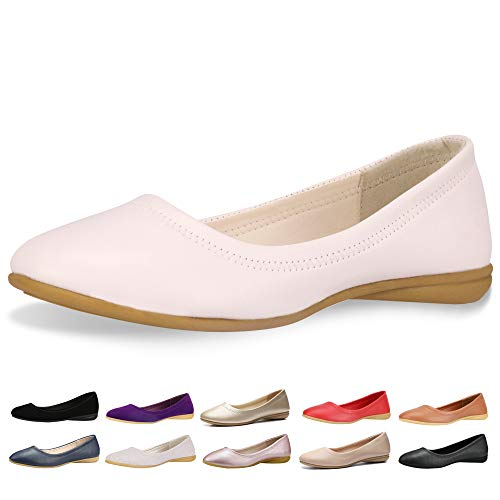 - CINAK Flats Shoes Women- Slip-on Ballet Comfort Walking Classic Round Toe Shoes (5-5.5B(M)US/CN37/9.2'', White)