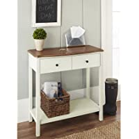 Side Wood Table with Two Drawers and Bottom Shelf for Extra Storage, Walnut Top Panel Finish, Multiple Colors, Console Table, Perfect for Living Room, Entryway, BONUS E-book (Ivory)