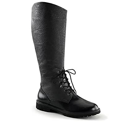 Mens Pull On Black Boots with 1.5'' Flat Heels and Decorative Lacing on Front Size: Small