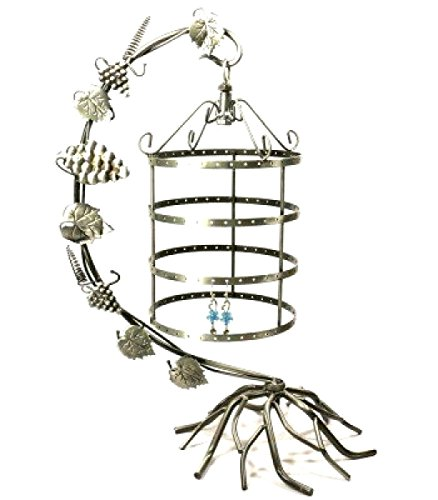 [Jewelry Display Tree Earring Holder Necklace Hang Organize Stand BirdCage Silver] (Puck To The Face Costume)