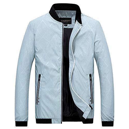 Realdo Men's Casual Jacket, Mens Sport Daily Zipper Stand Collar Fit Baseball Jacket(Medium,Grey)