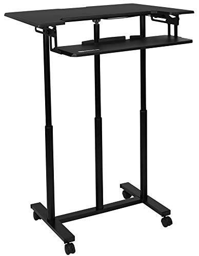 (Mount-It! Mobile Standing Desk with Wheels, Rolling Sit Stand Workstation for Desktop Computers and Laptops, 34 Inch Wide with Adjustable Keyboard Tray, Black)