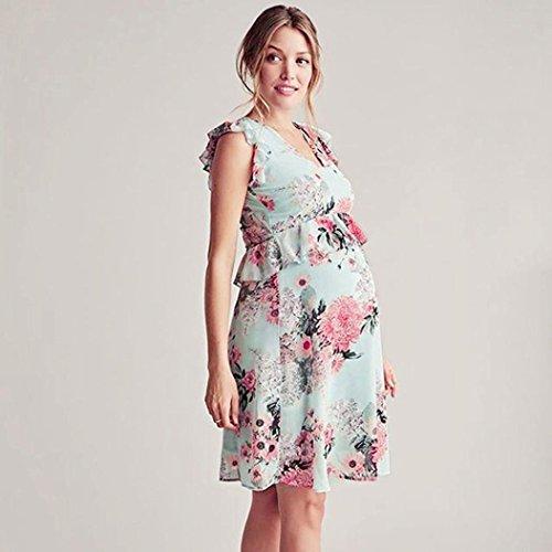 K-youth Vestido Embarazada Vestido para Mujeres Embarazadas Vestidos Premama Verano Volantes Florales Vestido Fotos Embarazada Vestidos Embarazada ...