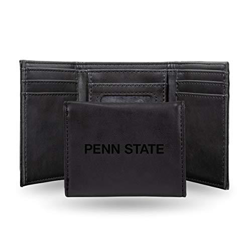 Rico Industries NCAA Penn State Nittany Lions Laser Engraved Tri-Fold Wallet, Black