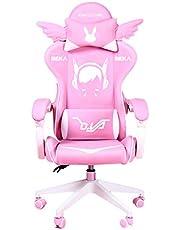 360 ° roterande spelstol Ergonomisk kontorsstol Datorstolar för vuxna Video Gaming Chair Office (Color : Pink, Size : 60 * 60 * 122cm)