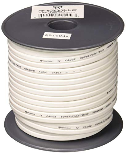 Rockville R14G50MSW 50 Foot Spool Marine Waterproof 14 AWG Speaker Wire White