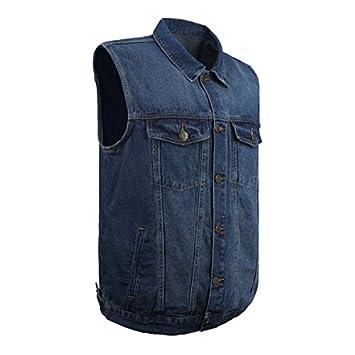 LUSI MADAM Men s Denim Vest Multi-Pockets Leisure Outdoor Fishing Vest Sleeveless Jacket,Blue