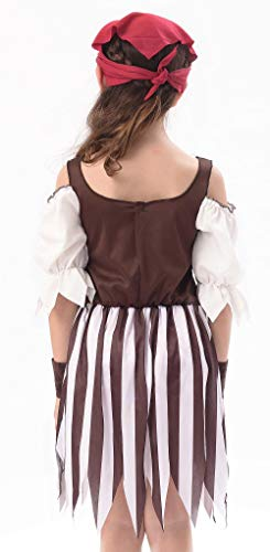 IKALI Baby Toddler Girl Pirate High Seas Buccaneer Costume Party Decoration Toy Kids Pretend Play Pirate Fancy Dress (6-8Y) by IKALI (Image #5)