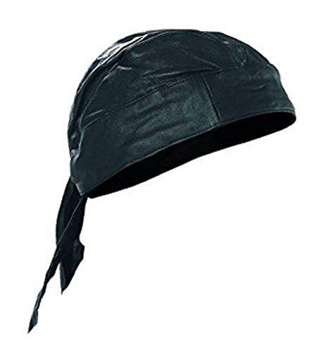 - AES Black Leather Style Do Rag Doo Rag Skull Cap Head Wrap